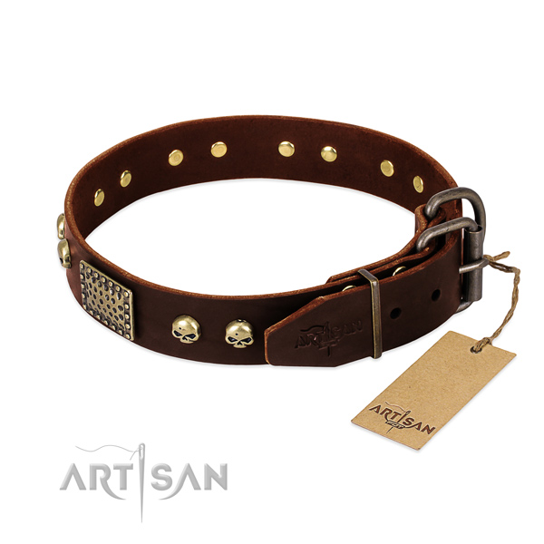 Durable studs on comfy wearing dog collar