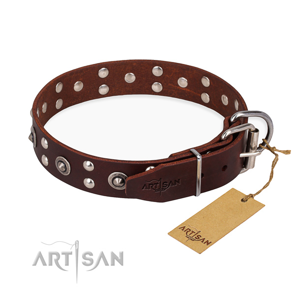 Rust resistant D-ring on genuine leather collar for your stylish doggie
