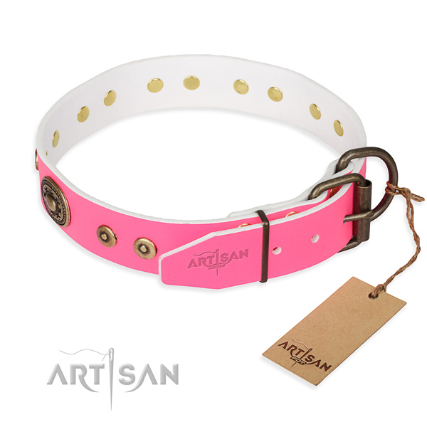 Leather dog collar made of gentle to touch material with corrosion resistant adornments