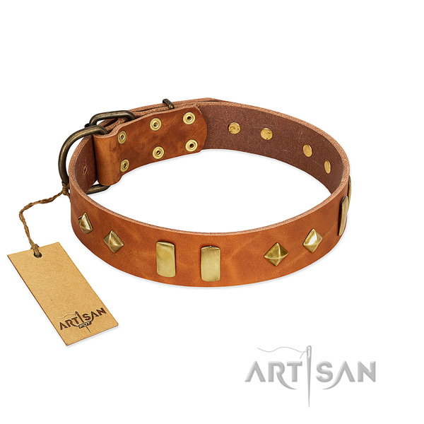 Comfortable wearing reliable genuine leather dog collar with decorations