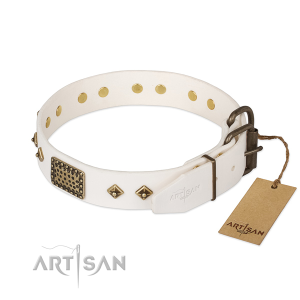Full grain genuine leather dog collar with strong D-ring and decorations