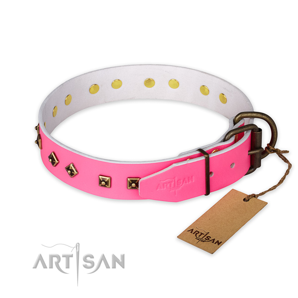 Rust resistant hardware on full grain natural leather collar for basic training your canine