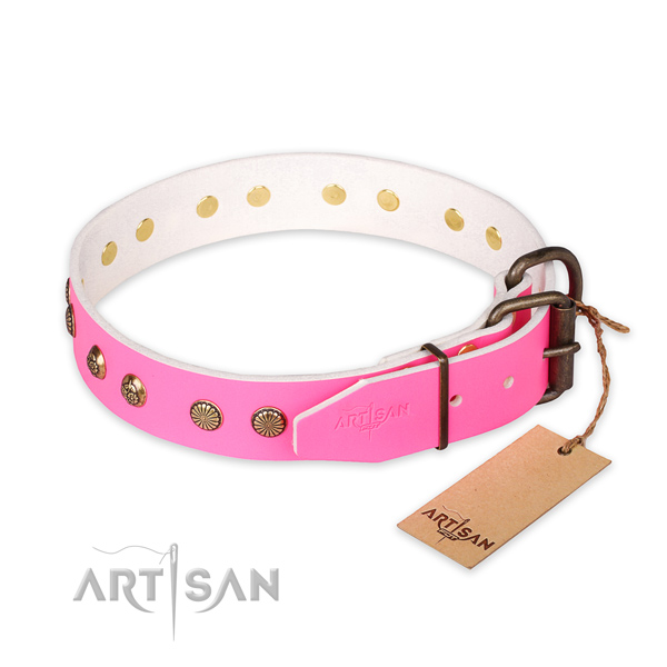 Corrosion proof traditional buckle on full grain leather collar for your handsome pet
