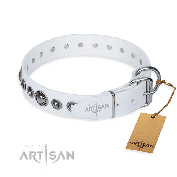 Full grain leather dog collar made of best quality material with strong adornments