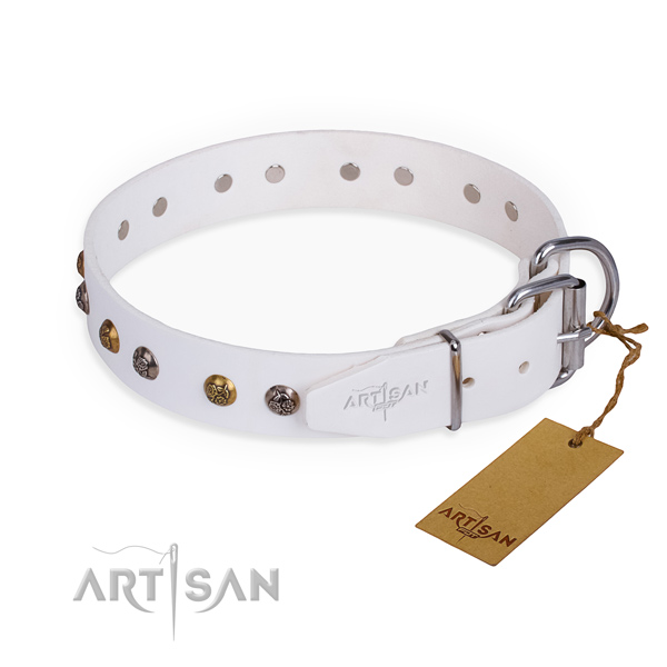 Genuine leather dog collar with exquisite durable decorations