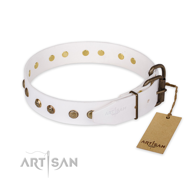 Durable hardware on natural genuine leather collar for your impressive canine