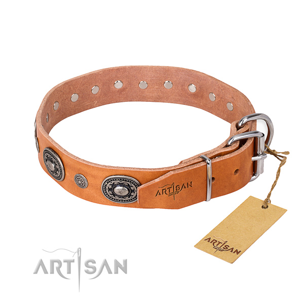 Gentle to touch genuine leather dog collar made for everyday use