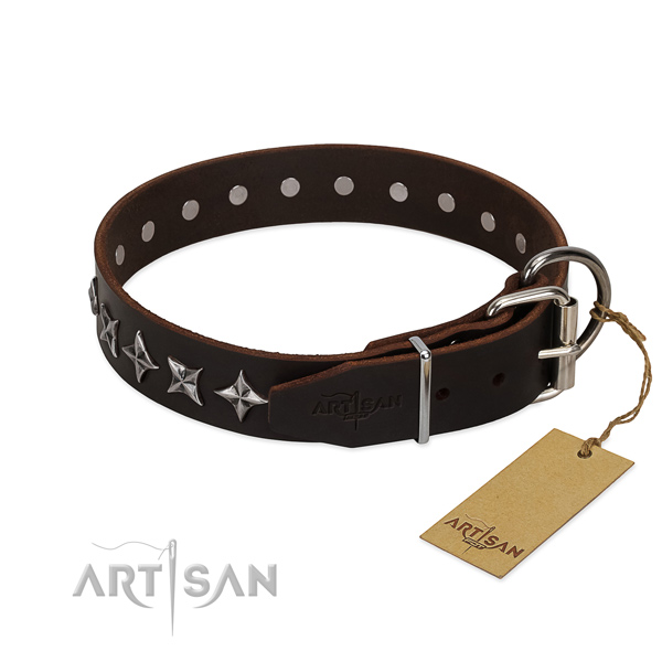 Comfortable wearing embellished dog collar of best quality full grain genuine leather