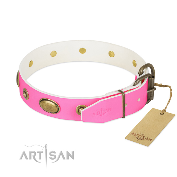 Rust-proof D-ring on full grain natural leather dog collar for your pet