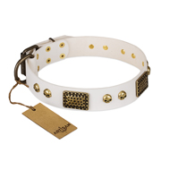 """Lost Treasures"" FDT Artisan White Leather dog Collar with Old Bronze Look Plates and Skulls"