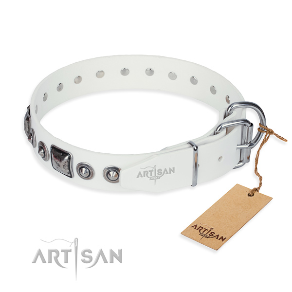 Quality genuine leather dog collar made for comfortable wearing