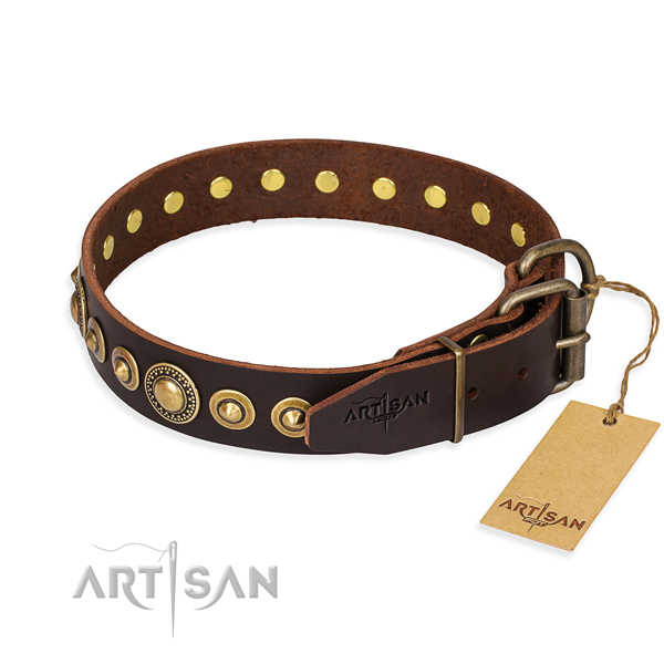 Top rate full grain genuine leather dog collar handmade for easy wearing
