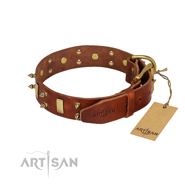 Handy use adorned dog collar of reliable natural leather