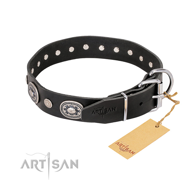 Reliable full grain natural leather dog collar crafted for everyday walking