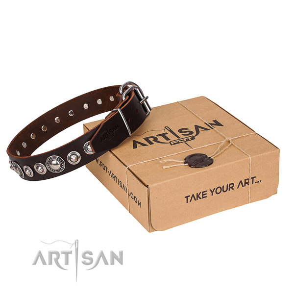 Durable full grain natural leather dog collar
