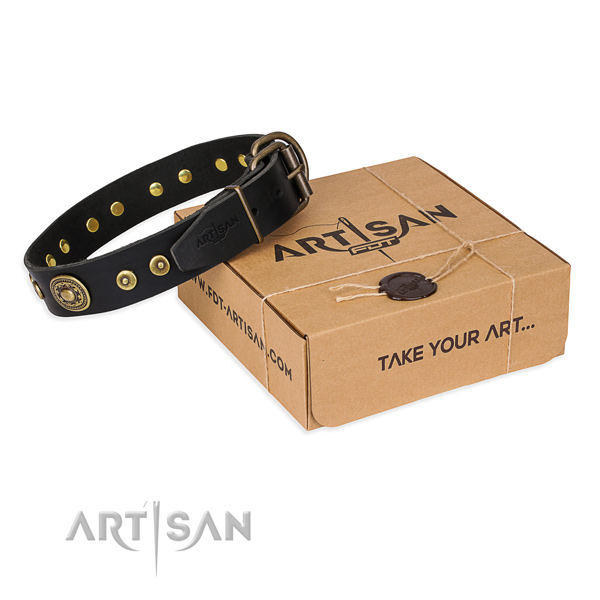 Natural genuine leather dog collar made of soft to touch material with durable fittings