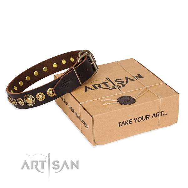 Soft to touch natural genuine leather dog collar crafted for fancy walking