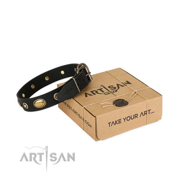 Durable decorations on full grain genuine leather dog collar for your canine