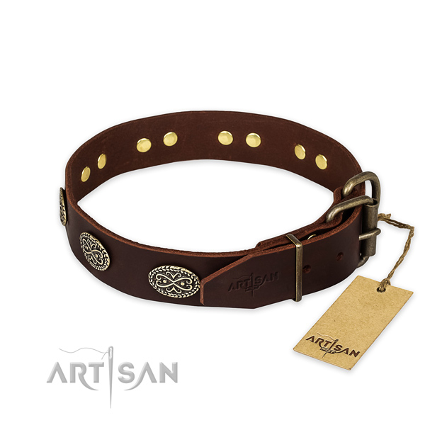 Reliable D-ring on full grain genuine leather collar for your handsome pet