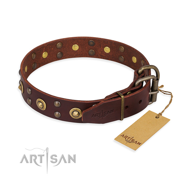 Reliable fittings on genuine leather collar for your attractive doggie