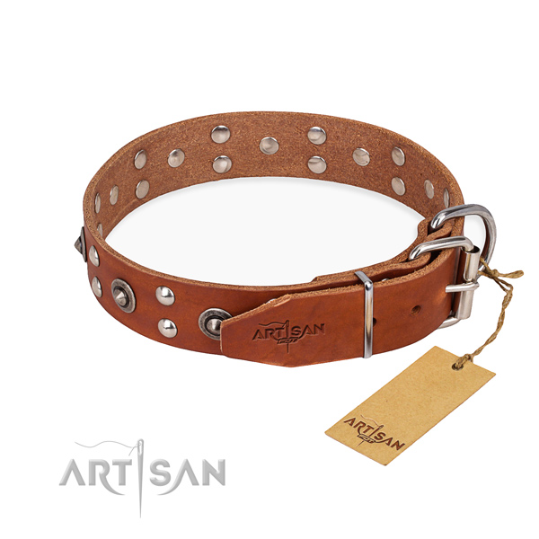 Rust resistant buckle on full grain genuine leather collar for your lovely doggie