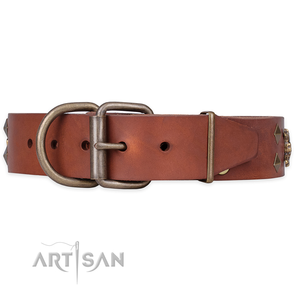 Basic training decorated dog collar of best quality full grain natural leather