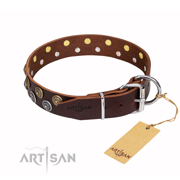 Handy use decorated dog collar of reliable leather