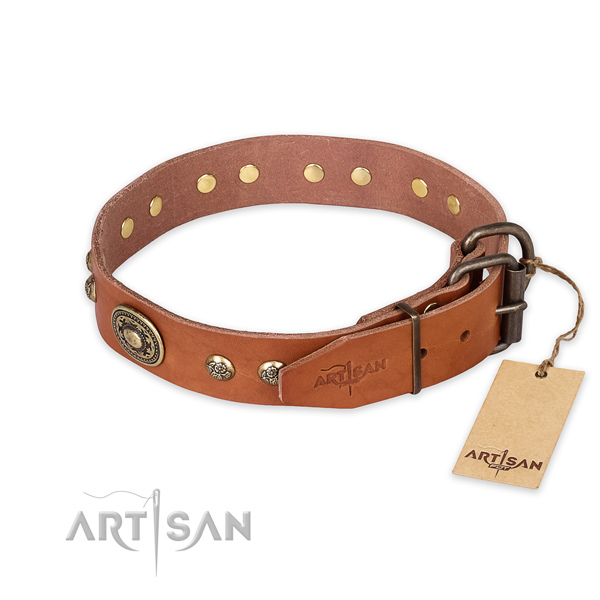 Reliable hardware on natural leather collar for basic training your canine