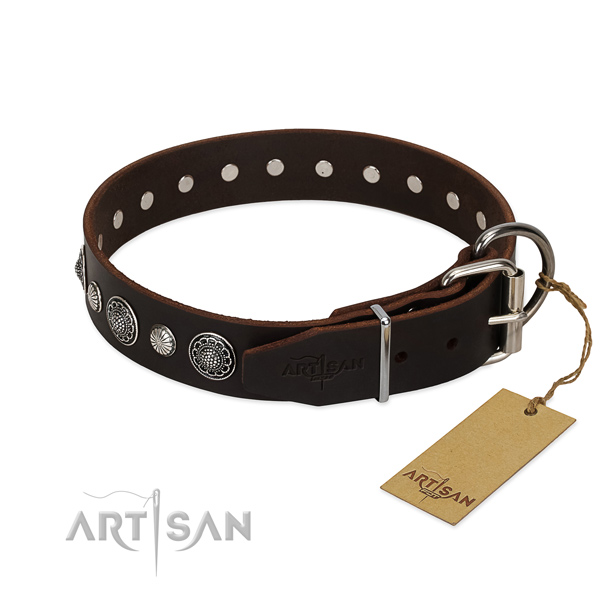 Soft to touch natural leather dog collar with corrosion resistant D-ring