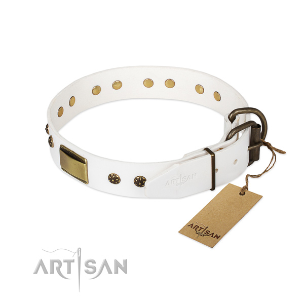 Natural genuine leather dog collar with corrosion resistant hardware and adornments