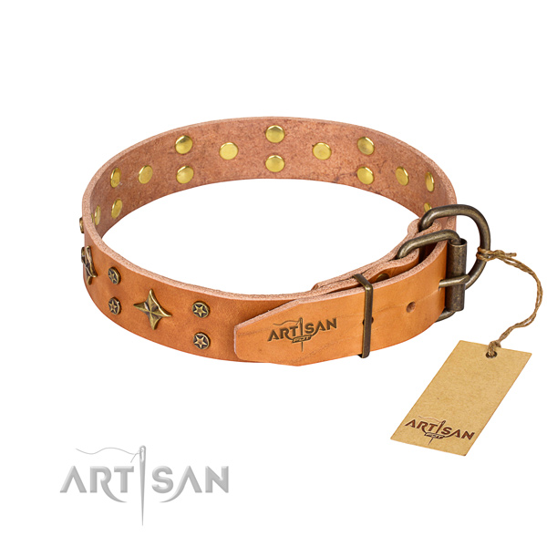 Everyday use embellished dog collar of durable full grain leather