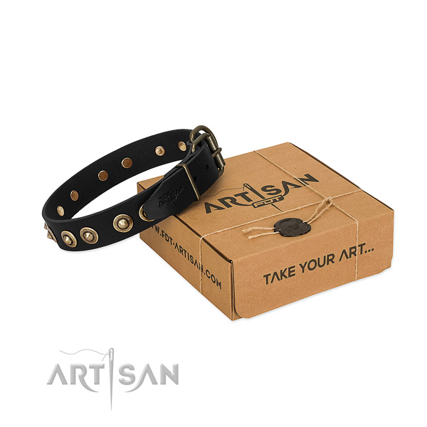 Durable hardware on full grain genuine leather dog collar for your pet