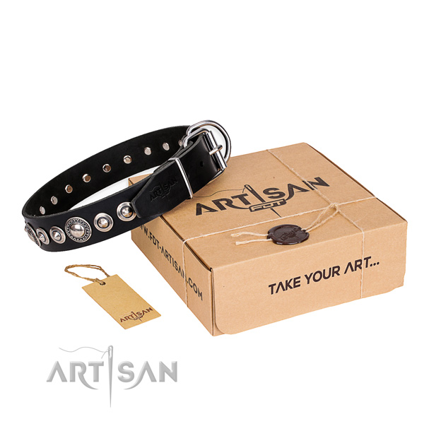 Top notch full grain natural leather dog collar