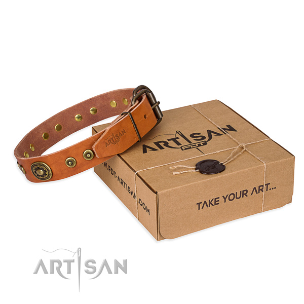Full grain leather dog collar made of gentle to touch material with rust-proof hardware