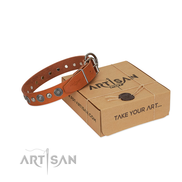 Full grain genuine leather collar with corrosion proof buckle for your attractive four-legged friend