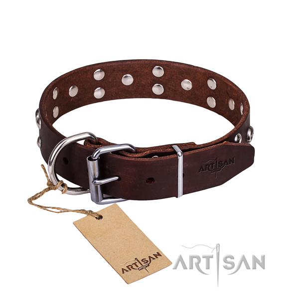 Handy use dog collar of top notch full grain genuine leather with decorations