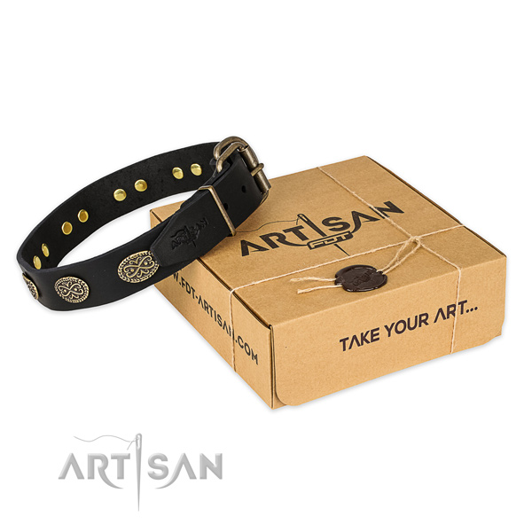 Reliable hardware on full grain natural leather collar for your impressive pet