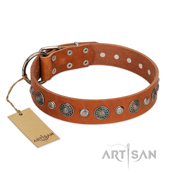 Durable natural leather dog collar with rust-proof buckle