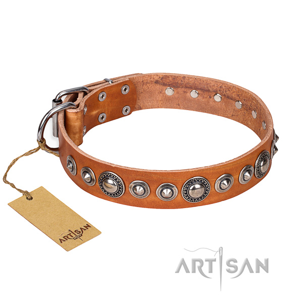 Full grain genuine leather dog collar made of flexible material with durable D-ring