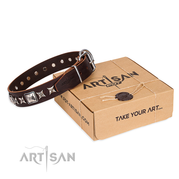 Comfy wearing dog collar of durable natural leather with decorations