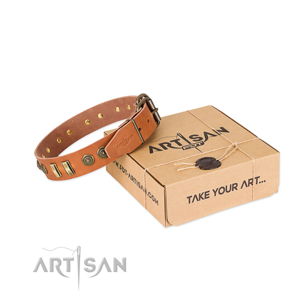 Reliable studs on full grain natural leather dog collar for your doggie