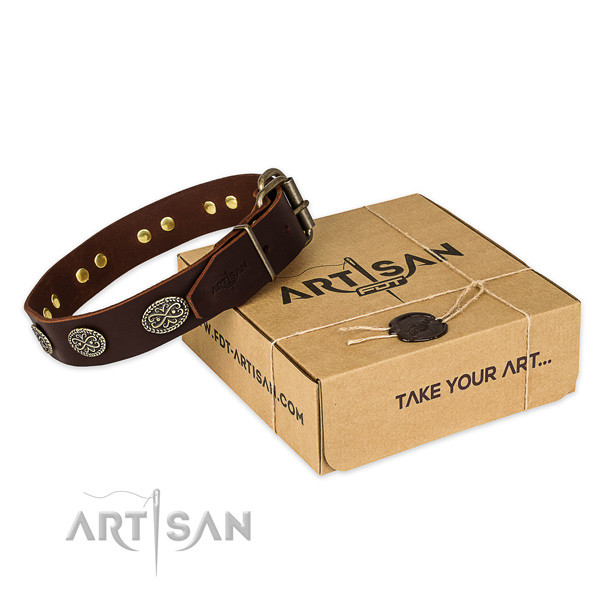 Strong fittings on full grain genuine leather collar for your handsome four-legged friend