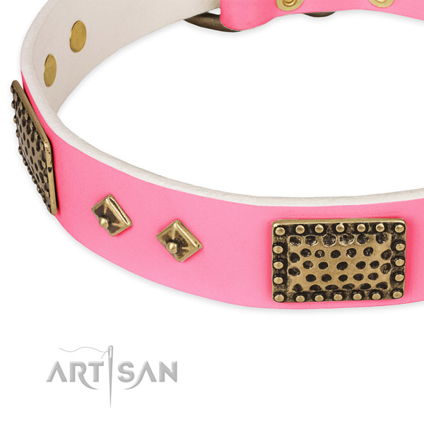 Full grain natural leather dog collar with decorations for easy wearing