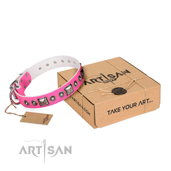 Soft to touch leather dog collar created for comfy wearing