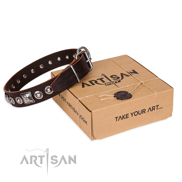 Full grain genuine leather dog collar made of quality material with rust-proof buckle
