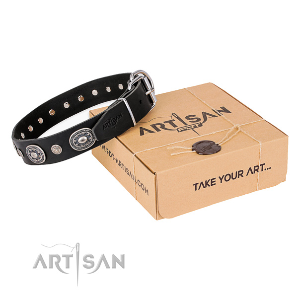Gentle to touch leather dog collar made for comfortable wearing
