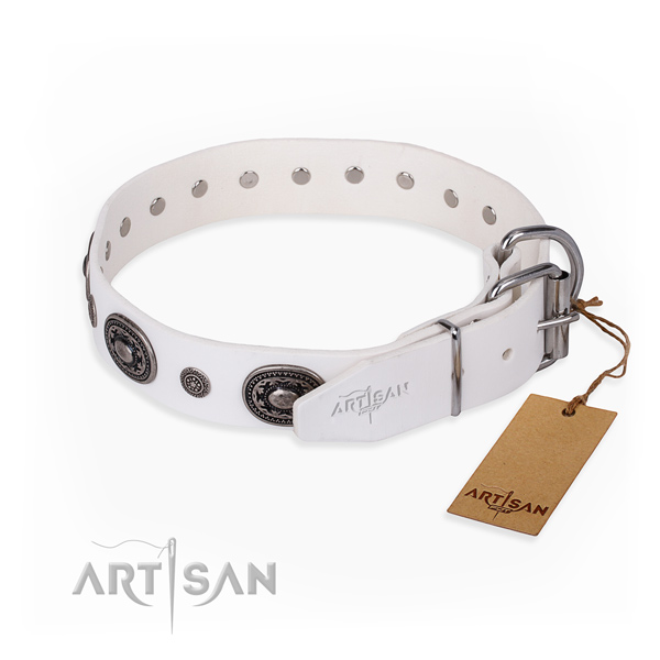 Flexible full grain genuine leather dog collar created for stylish walking