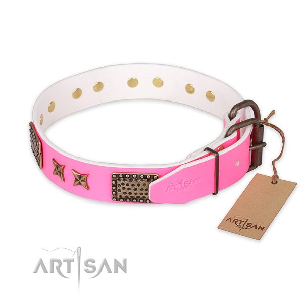 Rust resistant traditional buckle on full grain genuine leather collar for your attractive dog