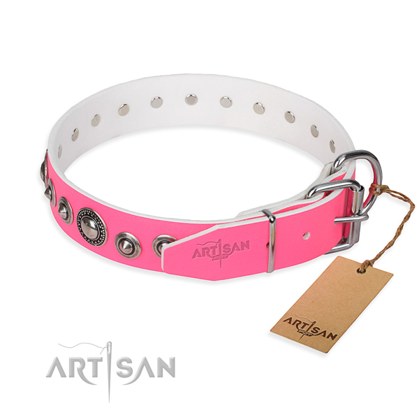 Genuine leather dog collar made of quality material with corrosion proof embellishments