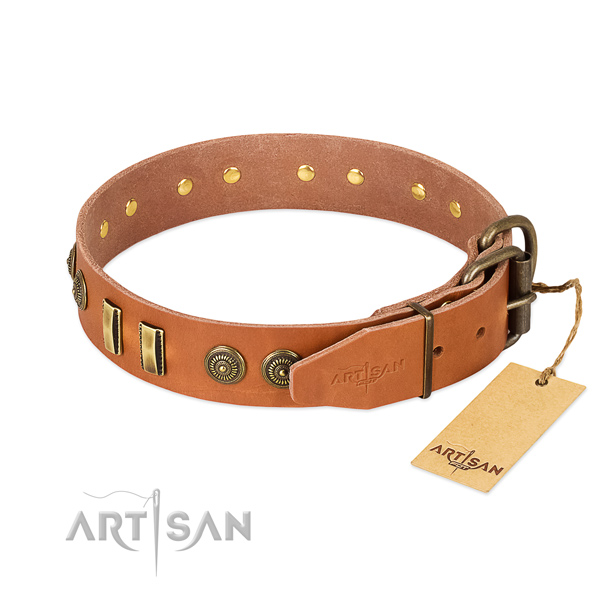 Rust-proof embellishments on full grain leather dog collar for your doggie